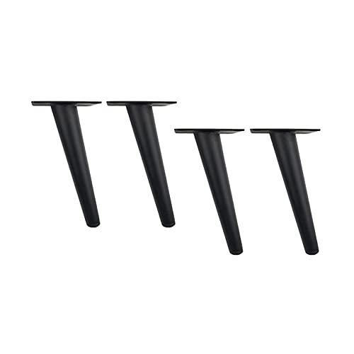 Patas de mesa cónicas negras inclinadas Pies de metal para muebles adecuados o mesa de centro, mesa de comedor, escritorio, mesita de noche, mesa, sofá, altura: 15 cm ~ 35 cm, 4 piezas (tamaño: 35 cm)