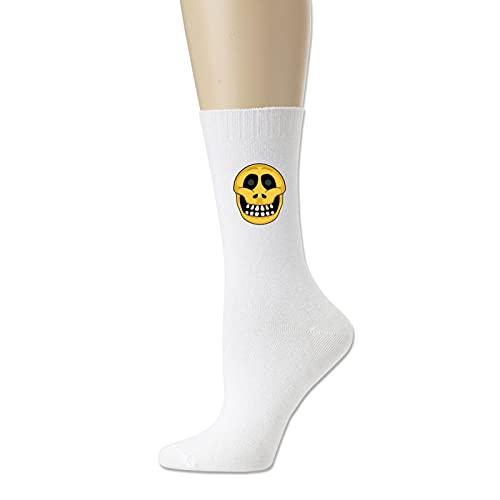 Calcetines deportivos de algodón con diseño de calavera con emoticono para hombre y mujer