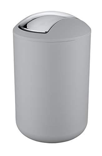 Wenko Kosmetikeimer Brasil L 6,5 Liter, Badezimmer-Mülleimer mit Schwingdeckel, Abfalleimer aus bruchsicherem Kunststoff, Ø 19,5 x 31 cm, grau