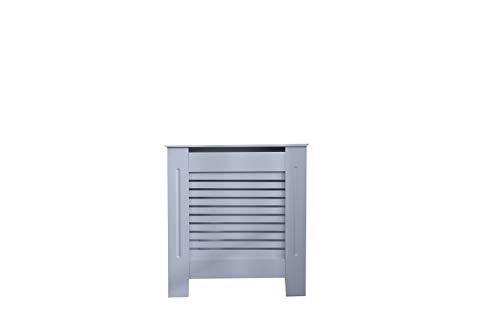 Juyouli Moderne MDF-Holz-Heizkörperverkleidung für Wohnzimmer, Schlafzimmer, Wandschrank, horizontale Lamellen mit geteilter Oberseite, Grau, grau, S