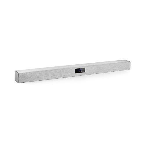 auna Areal Bar 150 Soundbar (4 x 2-Speaker, 2.1 Bluetooth, USB-Port zur Musikwiedergabe/Stromversorgung, microSD-Slot, 2 x AUX, 80 W max Digitalverstärker, Touch, LED, Fernbedienung) Silber