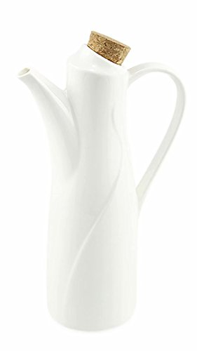 77L Öl Spender Flasche, 250 ML (8.45 FL OZ) Keramik Tischplatte Olivenöl Dispenser Flasche - Sojasauce oder Essig Cruet mit Pourer - moderne weiße Keramik Abendessen flüssige Gewürzspender