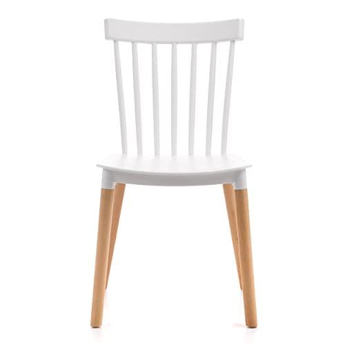 Design Stuhl für Esszimmer, Küche, Arbeitszimmer, Minimalistisch, Skandinavischer Stil, Holz, Polypropylen, Weiß, SK65