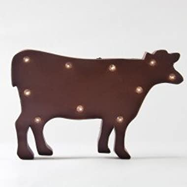 Glitzhome Marquee LED Rusty Cow Wall Hanging