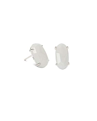 Kendra Scott Betty Stud Earrings for Women, Rhodium-Plated, White Mother of Pearl