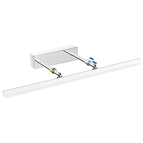 Klighten Lámpara de Espejo Baño LED 18W 60CM 1170LM, Blanco Frio 6000K LED Armario Lámpara Luz de Pared IP44 85-265V Lámpara de gabinete de espejo de acero inoxidable 180° Giratorio