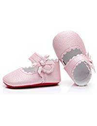 HONGTEYA Infant Baby Girls Ballet Dress Shoes Mary Jane Princess Soft Sole Frist Walkers Crib Moccasins (6-12 Months/US 5/4.72''/See Size Chart, Pink)