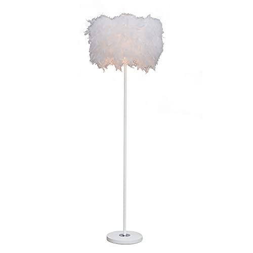 Lámpara de pie con plumas – 6 W LED Lámpara de pie, plumas blancas, lámpara de pie LED, lámpara de lectura regulable con mando a distancia, lámpara de estilo moderno para sala de estudio, loft, salón