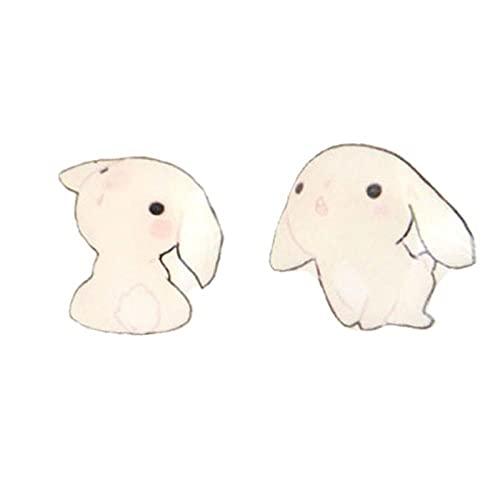 Pendientes de Conejito de bebé Lindo Suave s925 Aguja de Plata sin Pendientes Perforados con Clips de Oreja de imán Pendientes Decorativos de Animales de Culo de Corgi Lindo