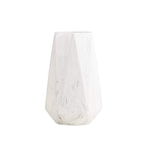 HCHLQLZ 20cm Marmol Blanco Decorativos Modernos Ceramica Jarrones de Flores para Mesa de Comedor Sala de Estar Idea Regalo para Cumpleanos Boda Navidad