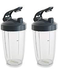 24 oz Cups For NutriBullet Blender w/ Leak Flip To Go Lid. Dishwasher Safe & BPA-free NutriBullet Replacement Cups Fit NutriBullet 600 Watt and NutriBullet Pro 900 series (Pack of 2)
