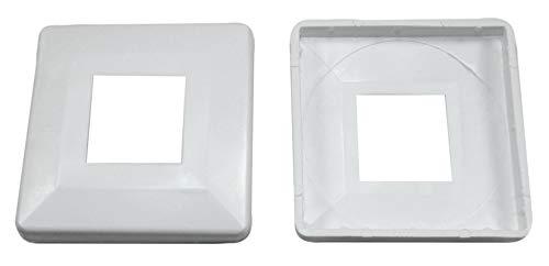 SN-TEC Abdeck Rosetten Eckig für Geländer   Rohre   Heizungen usw, Schwarz/Weiß/Grau (10 Stück) (Aussen 60x60mm / Innen 20x20mm, Weiß)