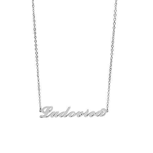 Collana in acciaio con il nome per donna regolabile colore argento anallergica girocollo regolabile (Ludovica)