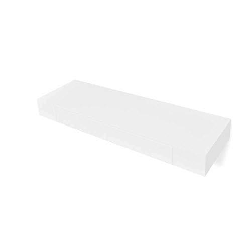 Wakects - 2 estantes de pared con 1 cajón, estante flotante para libros, CDs y decoración, diseño moderno, decoración práctica para casa, 80 x 25 x 8 cm, color blanco