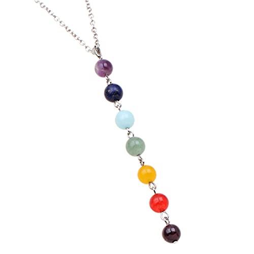 QIN 7 Chakra Gem Stone Beads Colgante Collar Mujeres Yoga Reiki Curación Equilibrio Maxi Chakra Collares Bijoux Femme Joyería 2021 Nuevo