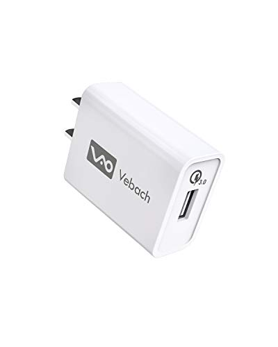 Vebach USB Wall Charger Single Port, UL Certified Quick Charge 3.0 18W AC Power Charging Adapter Plug Compatible with Galaxy S10/S9/S8/Note 8/7, LG G6/G4/V30, HTC 10, Nexus 9, iPhone, iPad and More