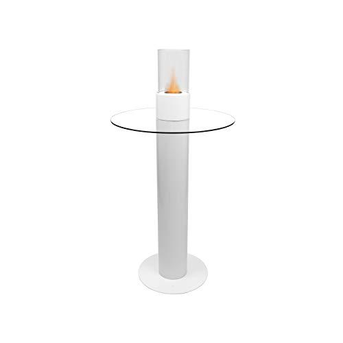 SATURNO Tavolino di Design con Camino al Bioetanolo Biocamino da Terra Bianco