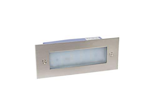 LineteckLED -020551- Segnapasso in acciaio inox LED Rettangolare da Incasso 4W dimensioni 110x46mm Luce Fredda 6000K 320 Lumen ultra luminoso!