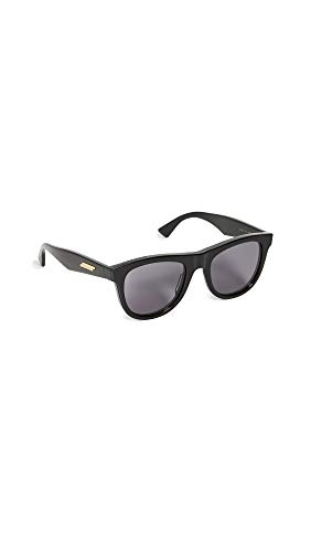Bottega Veneta Women's Acetate Wayfarer Sunglasses, Shiny Black with Grey Solid Le, One Size