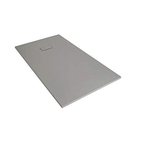Milano Rasa – Light Grey Low Profile Rectangular Slate Effect Shower Tray - 1000mm x 800mm