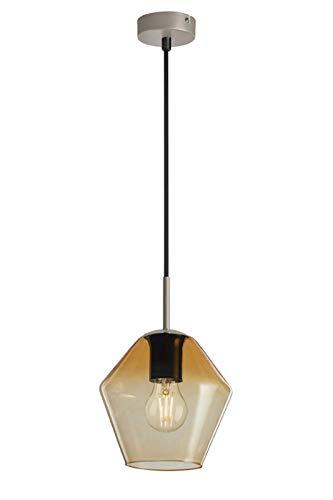 Briloner Leuchten, Pendellampe Bernstein farbigem Pentagon-Glas, Basis matt-nickel, E27, max. 40W, inkl. Textilzuleitung, Länge: 1,20 m Pendelleuchte, pale gold
