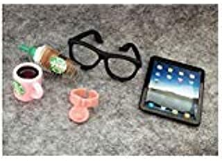مجموعة إكسسوارات jwrac LPS 5 قطع نظارات القهوة تابلت طوق الطعام المصغرات محاكاة للدمية 1/6 1/12 LPS قصيرة الشعر قطة داشهند...