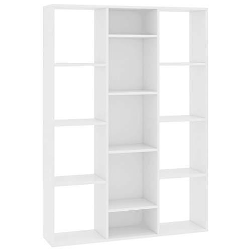vidaXL Raumteiler Bücherregal 13 Fächer Wandregal Standregal Aktenregal Raumtrenner Büroregal Regal Bücherschrank Weiß 100x24x140cm Spanplatte
