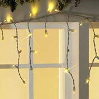 Holiday time brand LED Icicle Lights 25 Foot Length 200 Lights. Slow Shimmering Icicle Strand of Lights Warm White Color.