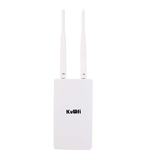 KuWFi - Router de tarjeta SIM para exteriores 4G LTE CPE (impermeable, 150 Mbps, CAT4, LAN LTE, routers de sim, funciona con cámara IP o cobertura WiFi exterior con 2 antenas, solo funciona con modo de tarjeta SIM, no para Estados Unidos