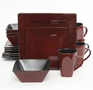 Kiesling Square Red Reactive Glazed 16-Piece Dinnerware Set - Gibson Elite
