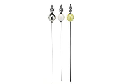 Gartenstecker Dekostecker - Peak Kugel - Silber Weiß Grün - H 109 cm im 3er Set