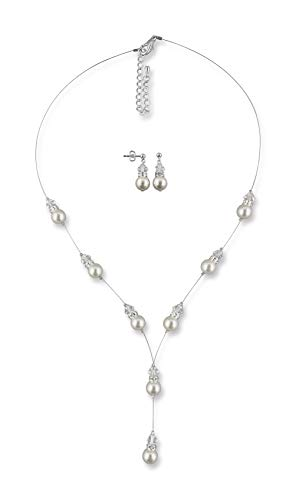 Rivelle Damen Brautschmuckset Y-Kette Ohrringe creme Schmuckset Perlen Swarovski kristall Collier Hochzeit Geschenkbox