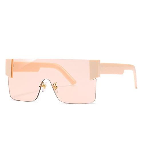 Powzz ornament Gafas de sol cuadradas sin montura para mujeres y hombres, gafas de una pieza de gran tamaño, lentes de corte, gafas de sol a la moda-6_Universal