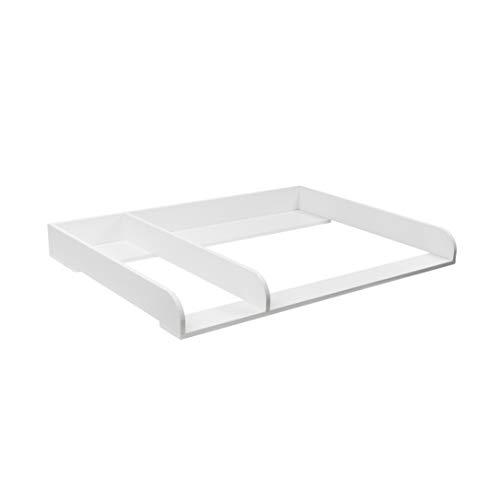 Puckdaddy XXL Table à langer pour commode IKEA Hemnes, bords arrondis avec séparation, blanc, 1,08m