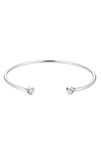 Elli Damen Schmuck Echtschmuck Armband Armreif Solitär-Armband Sterling Silber 925 Swarovski® Kristalle Länge 17 cm
