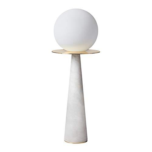 SHUMACHENG2020 Lamparas de Mesita de Noche Mármol Moderna decoración de la Tabla de la lámpara de la Sala Dormitorio Mesita de luz de la lámpara - 17,7 Pulgadas, mármol Blanco y latón Lampara de Mesa