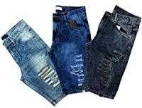 Kit 3 Bermudas Jeans Destroyed