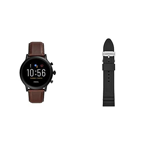 Fossil Smartwatch Pantalla táctil para Hombre de Connected con Correa en Piel FTW4026, Cuero Marrón Oscuro + Correa para Reloj S221304, Negro