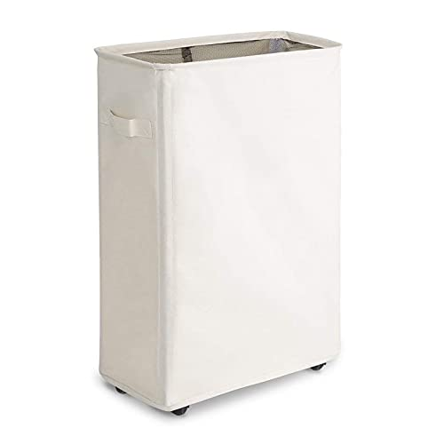 Chrislley Laundry Hamper With Wheels Slim Laundry Basket Foldable Dirty Clothes Basket Portable Rolling Laundry Organizer for Corner Narrow(22 inches,Beige 1)