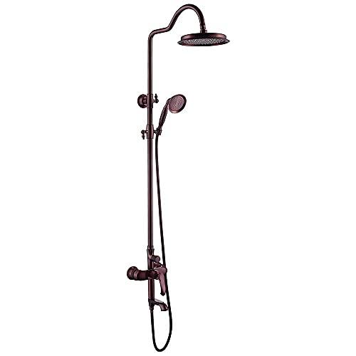 SSYS Sistema de Ducha termostático Juego Combinado de Ducha de baño expuesta Juego de Grifo de Ducha multifunción con Cabezal de Ducha, Ducha de Mano, Grifo de bañera, Spray de bidé, Negro