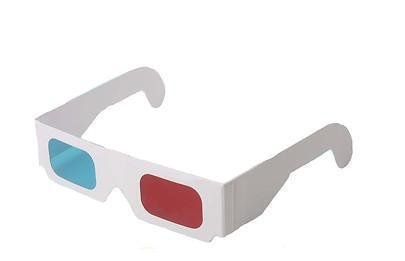 ASVP Shop 3D Glasses Made from White Paper with Red and Cyan Lenses Suitable for Films, TV, Magazines, Comic Books, Anaglyph Videos, Internet Videos and Pictures and More (Pack of 1)
