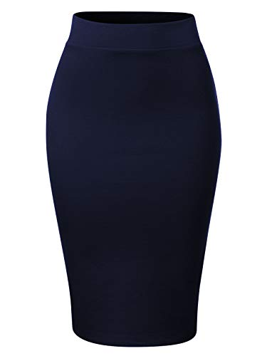 MixMatchy Women's Waist Band Midi Stretchy Ponte Basic Knee Pencil Skirt Navy Blue L