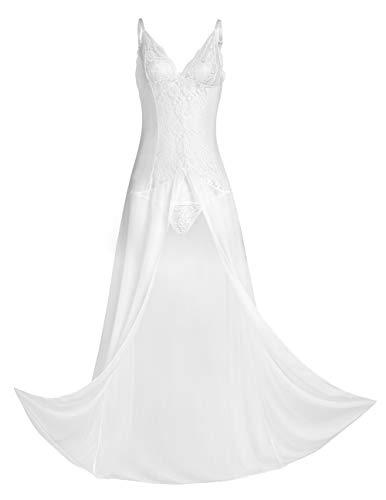 CHICTRY Spitze Morgenmantel Lang Negligee Damen Kleid Nachtkleid Reizwäsche Nachtwäsche Dessous Set für Damen mit G-String Gr. M-3XL Weiß XL