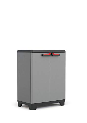 Keter Stilo Kunststoffschrank, niedrig, dunkelgrau/schwarz/rot, 68 x 39 x 90 cm