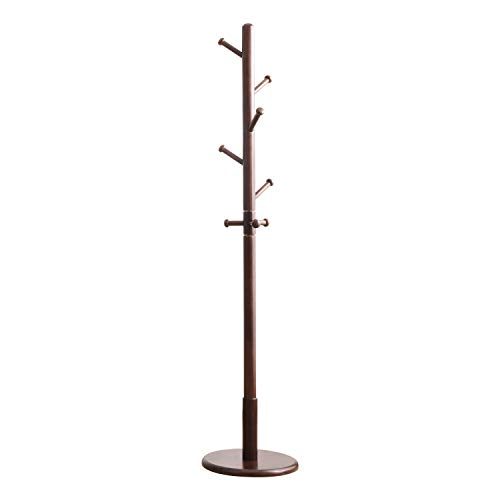 Vlush Sturdy Wooden Coat Rack Stand, Free Standing Entryway Hall Tree Coat Tree Hanger with 360 Degree Rotating Hook and Round Base for Hat, Clothes, Purse, Scarves, Handbags - (Dark Brown, 8 Hooks)