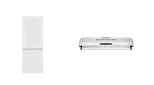 Bomann KG 320.1 Kühl-Gefrier-Kombination/ 143 cm/ 160 kWh/Jahr/122 L Kühlteil/43 Gefrierteil& Dunstabzugshaube DU 623.3, Unterbaufähig, Glas-Wrasenschirm, Umluft-oder Abluftbetrieb, 3 Leistungsstufen
