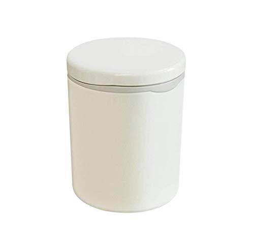 JUIO Escritorio bote de basura, plástico pequeño en Push-Cubo de basura, redonda + plaza, for la oficina Dormitorio Sala de Estudio Sala de Baño Oficina de Residuos cesta, blanca (Color : A)