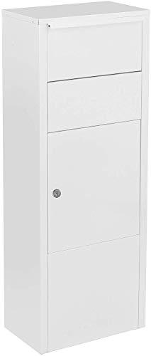 MEFA Paketbriefkasten Hazel 477 weiß (Briefkasten groß, spezieller Einwurf, Post, Päckchen, 104,3 x 38,5 x 23 cm) 477000M