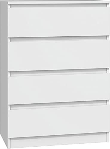 Kommode mit 4 Schubladen Weiss M4B, Diele, Flur, Anrichte, Mehrzweckkommode, Highboard, Sideboard, Mehrzweckschrank, Wohnzimmer, Esszimmer (Weiß)