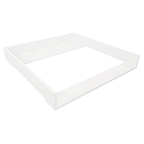 Puckdaddy Wickelaufsatz Christian – 78x70x10 cm, Wickelauflage aus Holz in Weiß, hochwertiger Wickeltischaufsatz passend für IKEA Brimnes Kommoden, inkl. Montagematerial zur Wandbefestigung